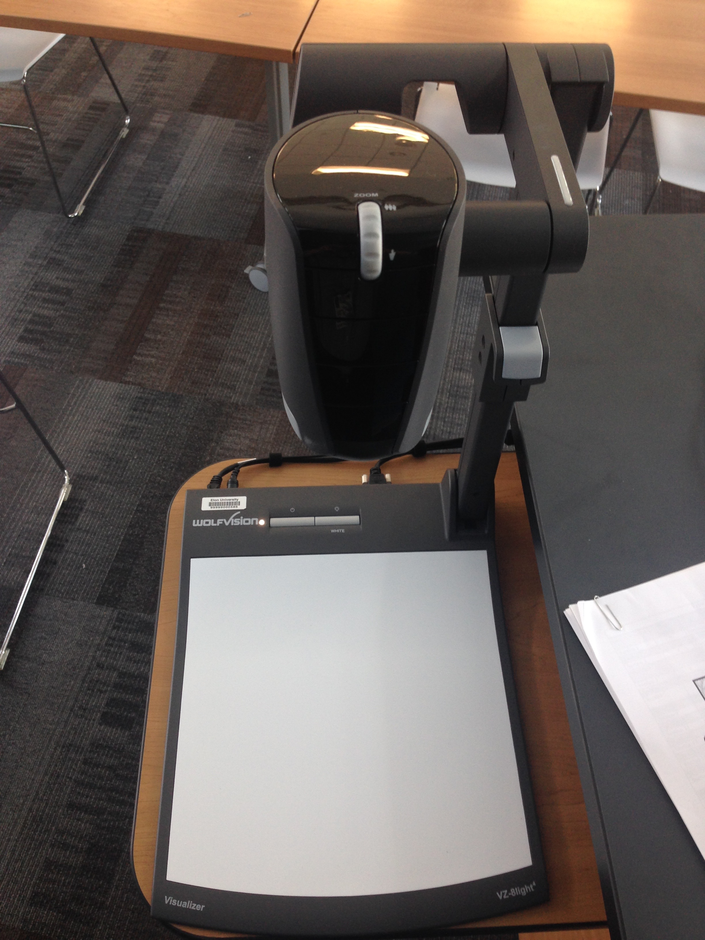 A photo of the document camera.