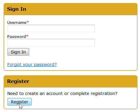 An image of the sign in/register page for OnTheHub.