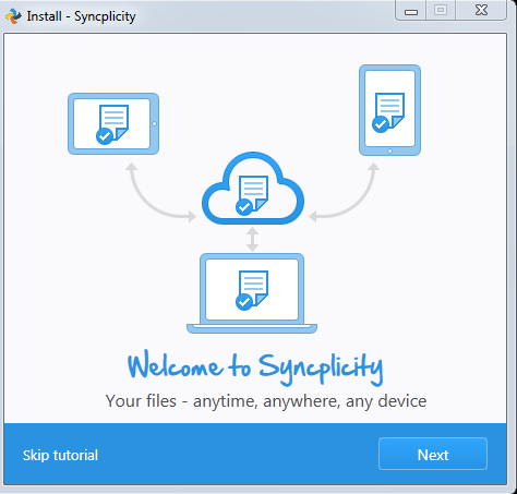This is an image of the first screen of the Syncplicity tutorial. It has a Skip tutorial link and a Next button.
