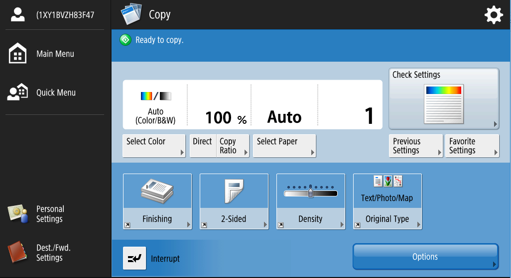 This is what the copy screen looks like on a Canon printer.