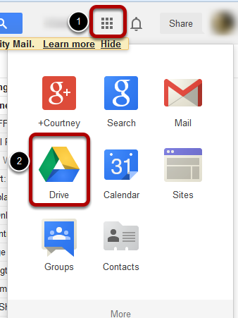 Image of how to locate google drive in the apps icon.