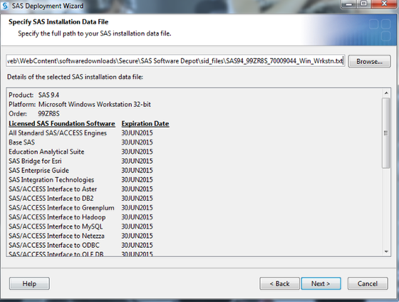 This is the Specify SAS Installation Data File screen where you should click next.