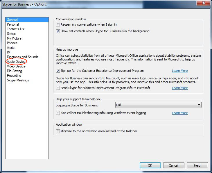 A photo of skype for business options