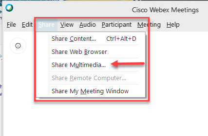 Share Multimedia in the top menu