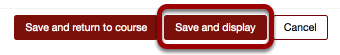 An image of the save and display button, which has been circled.