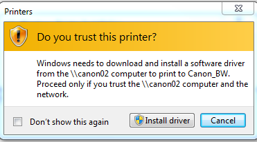 This image asks if you trust this printer. You must click Install Driver.