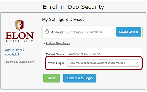"""To take advantage of the 24-hr remember me feature, choose """"Ask me to choose an authentication method"""" when prompted on the enrollment screen."""