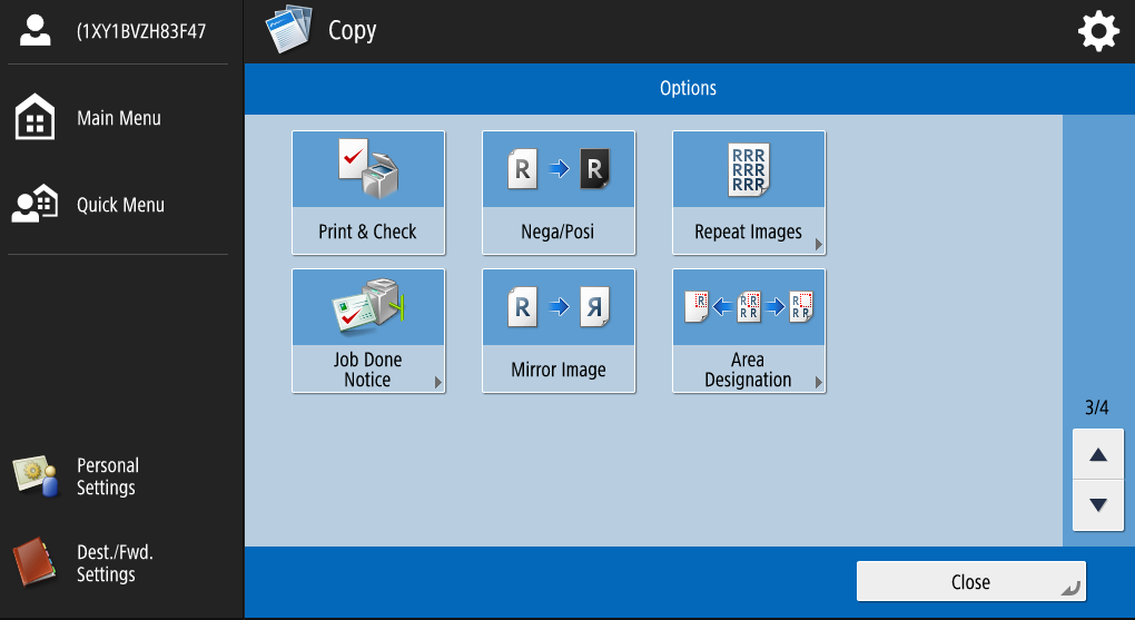 This is the third screen of options when copying.