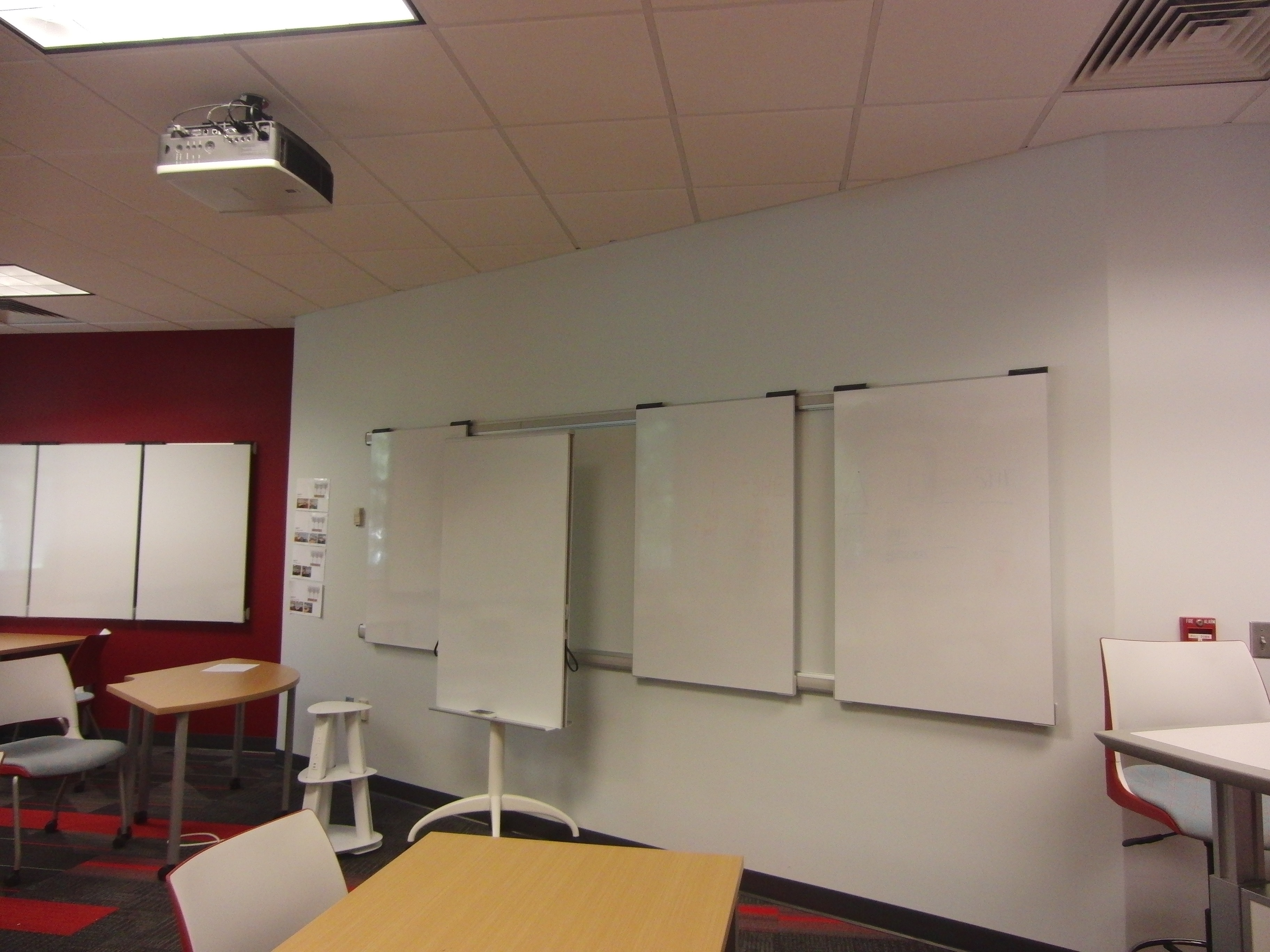 Photo of moveable white boards installed in the classroom