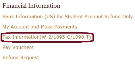 This is an image of the Financial Information section with Tax Information circled.