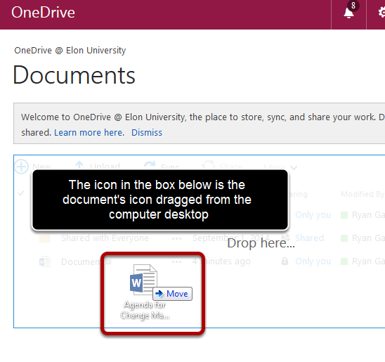 "An image of a file being dragged and dropped into OWA. The drag-and-drop file is circled, with text saying ""The icon in the box below is the document's icon dragged from the computer desktop."""