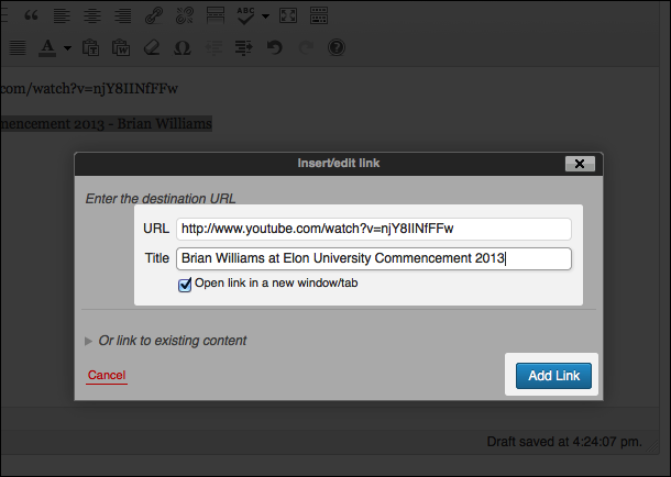 In the 'Insert/edit link' box that pops up, paste the YouTube address in the URL box, add a title, select 'Open link in new window' and then click 'Add Link'