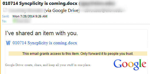 Image of shared email notice
