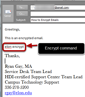 An example of the encrypt command, circled, with an arrow pointing to it, labeled encrypt command.