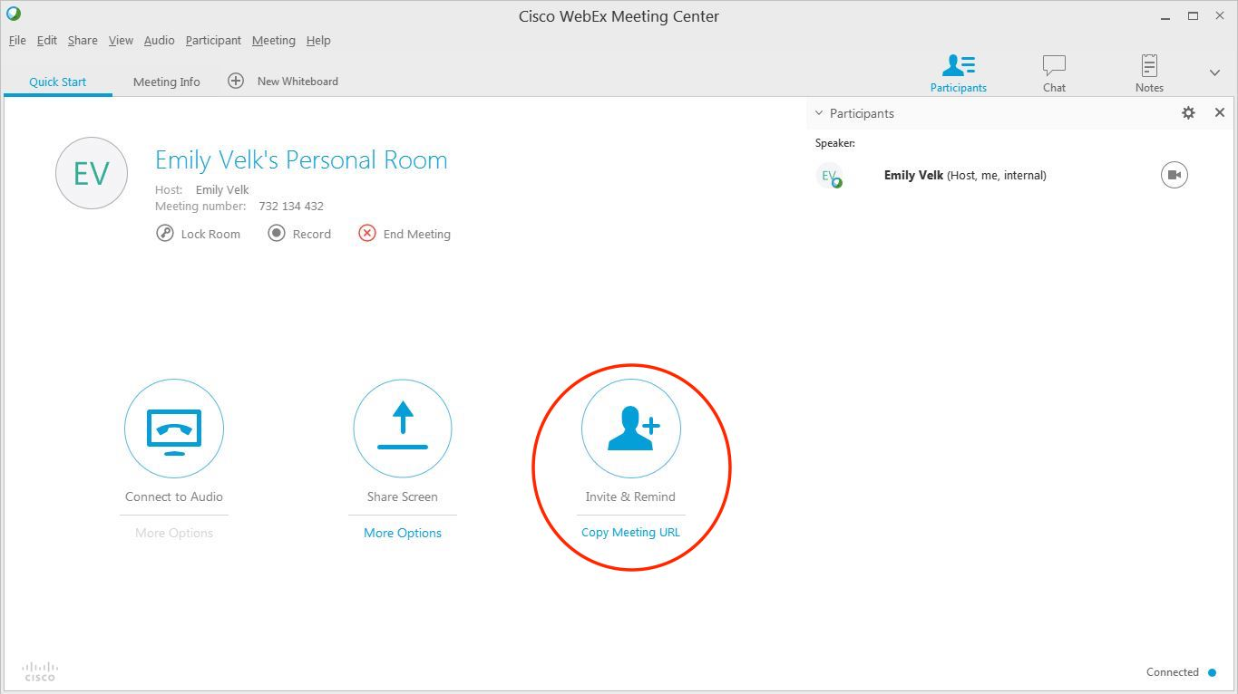A photo from webex showing a way to invite people.