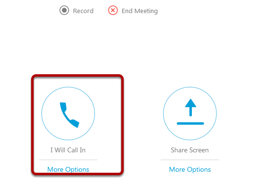 Click 'I Will Call In' (or 'Call Using Computer' if you have a built-in microphone with VoIP)