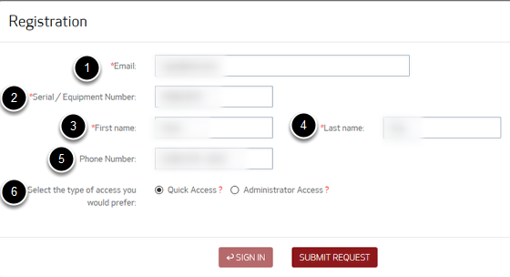 An image of the registration form with the next set of information numbered: 1 is email, 2 is serial/equipment number; 3 is first name; 4 is last name; 5 is phone number; and 6 is Access type.