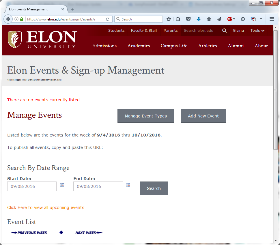 Image of the Manage Events screen