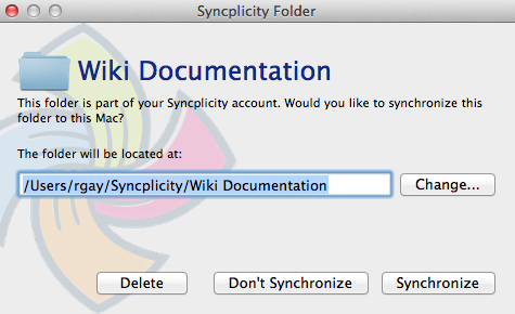 This is an example image of the path to sync files.