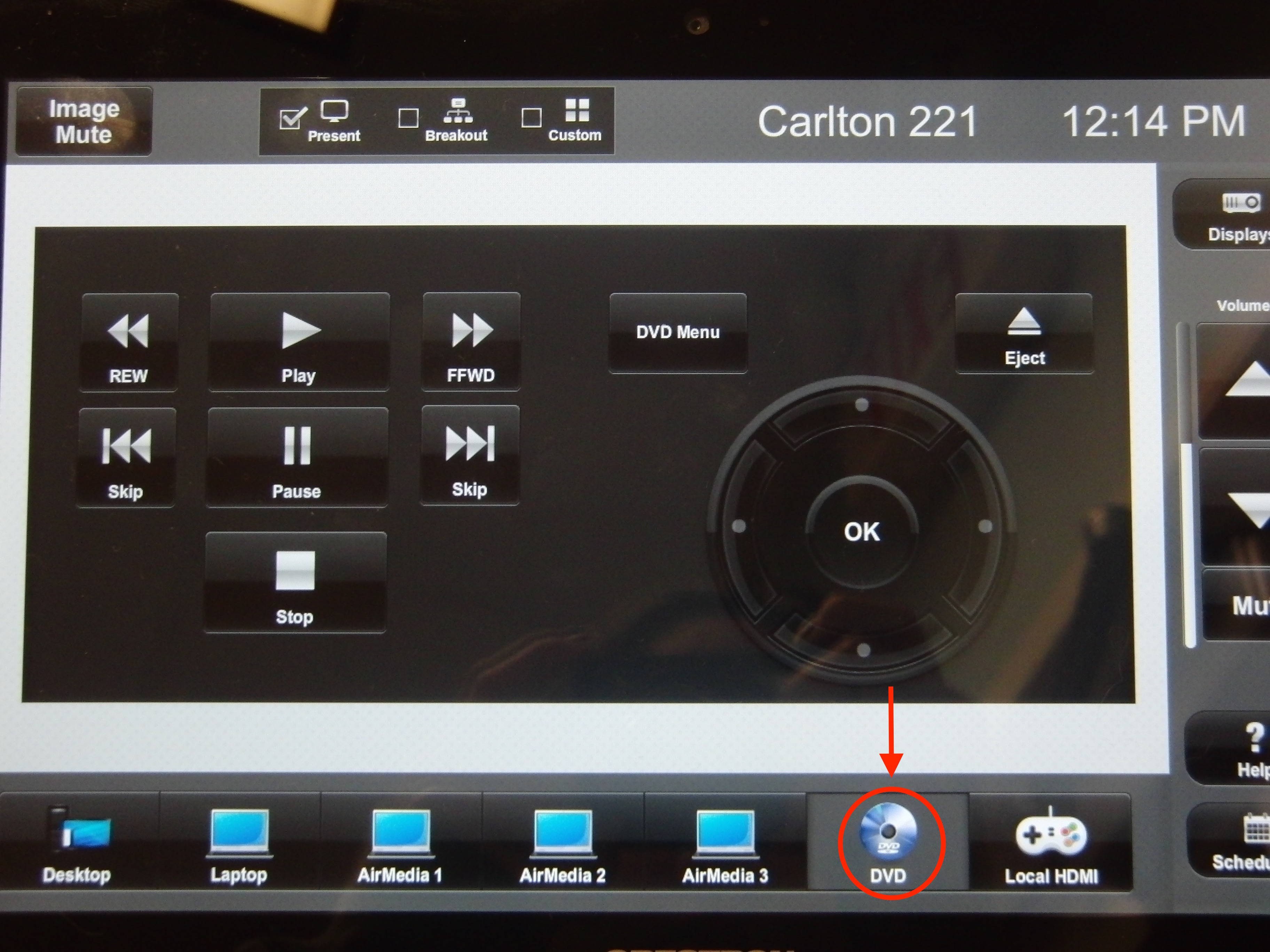 Photo of crestron control touch panel highlighting the DVD option