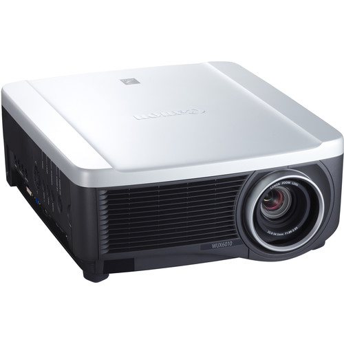 A photo of a Canon projector from the front.