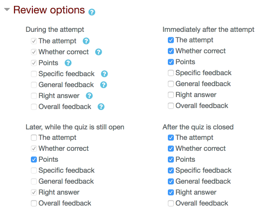 An image of the review options form.