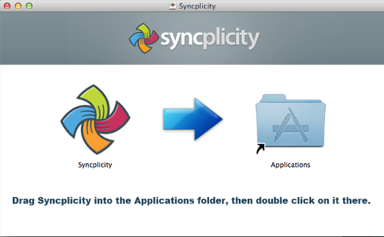 This image shows that you need to drag and drop the Syncplicity icon into the folder.