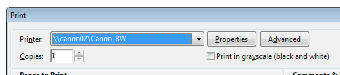 This image shows the print dialogue box with the Advanced button.