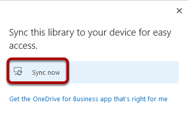 An image of the Sync now option, which has been circled.