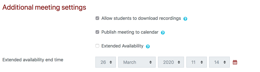 additional meeting settings