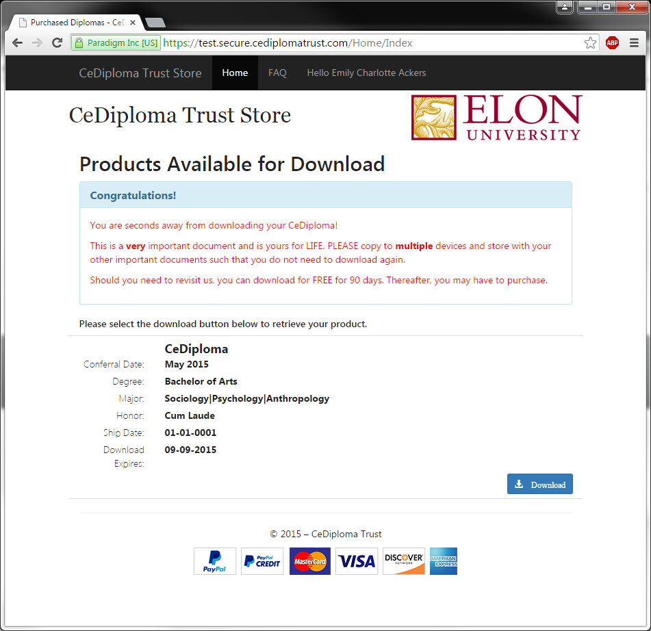 An image of CeDiploma products for download