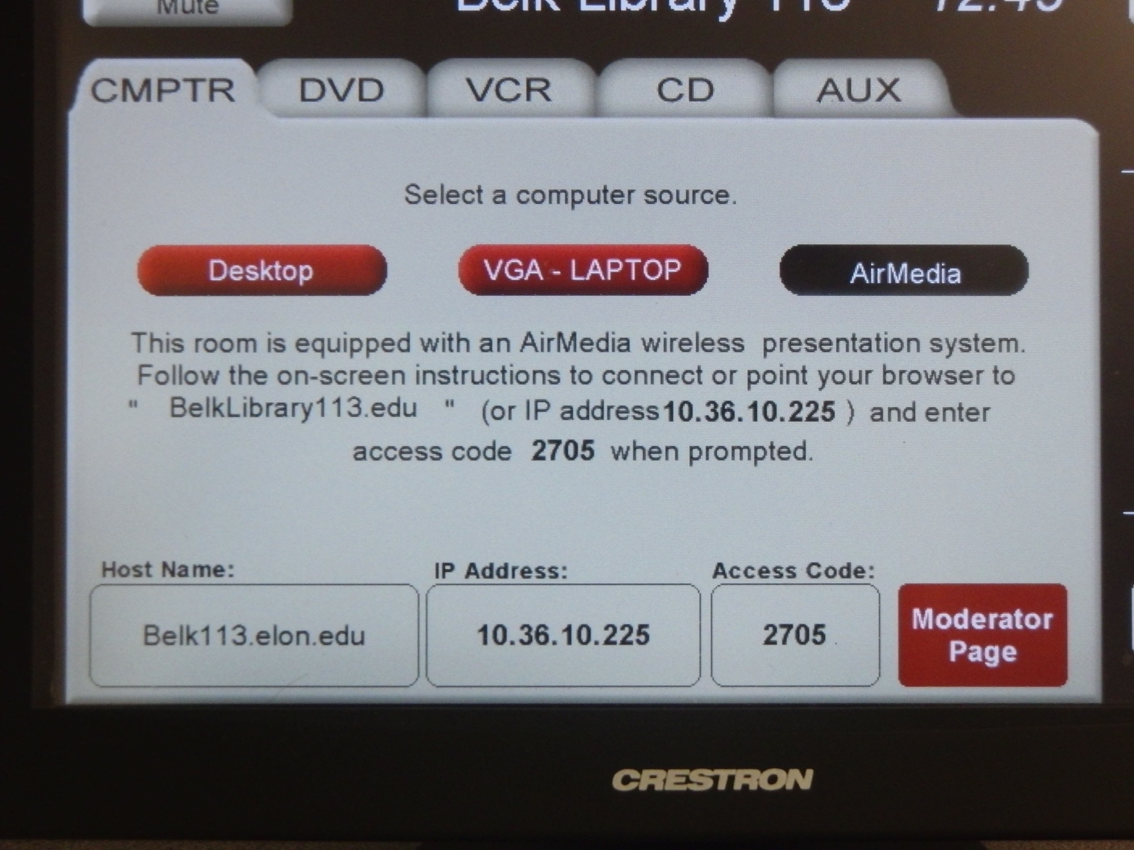 A photo of the screen under the CMPTR tab on the touch panel.