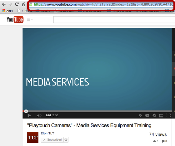An example YouTube URL, circled.