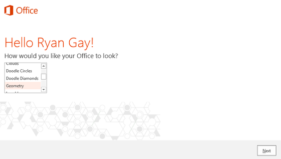 An image of the select theme screen for office.