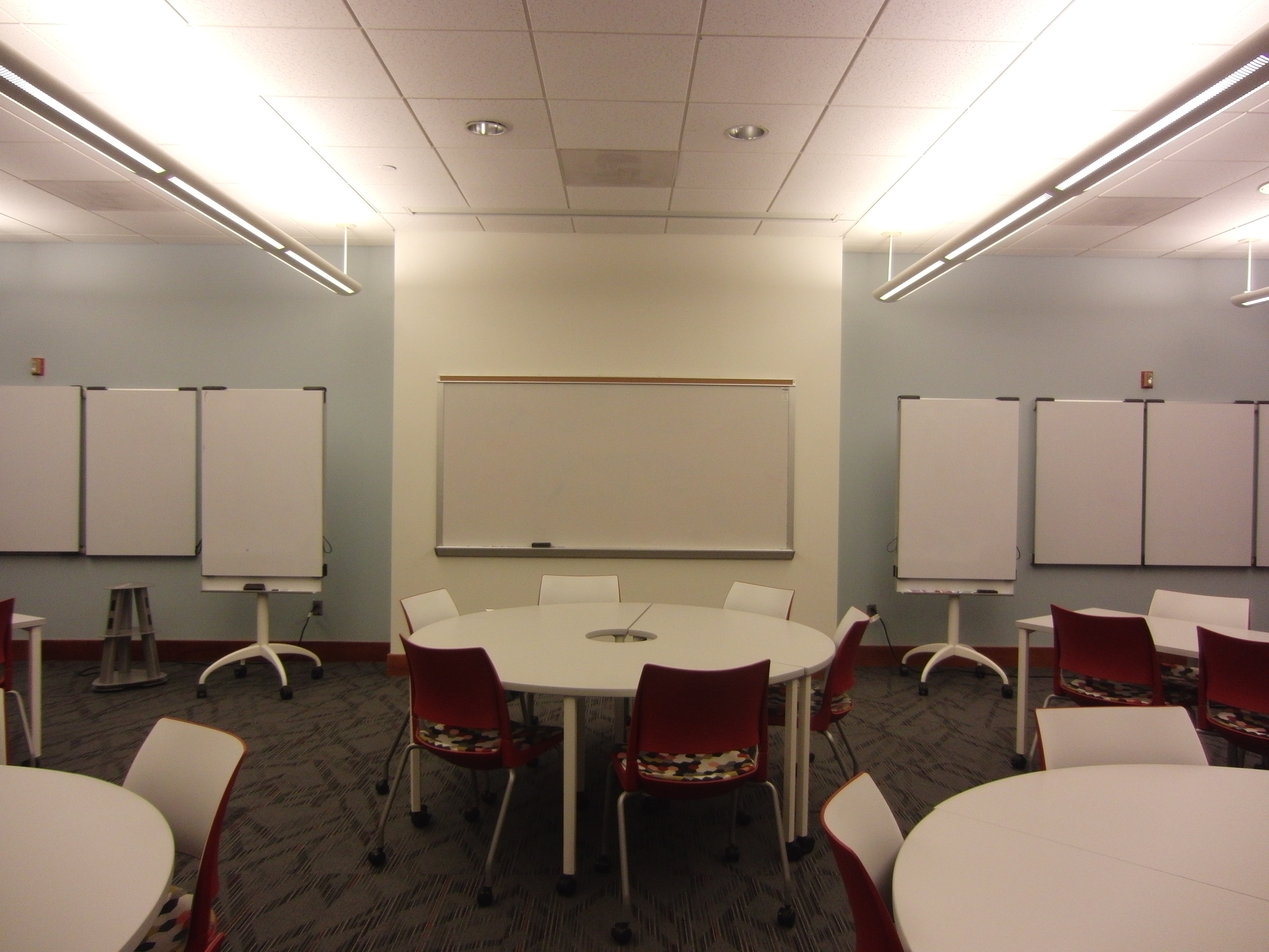 A photo of the room from the back.
