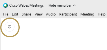 Webex info button used to find meeting number