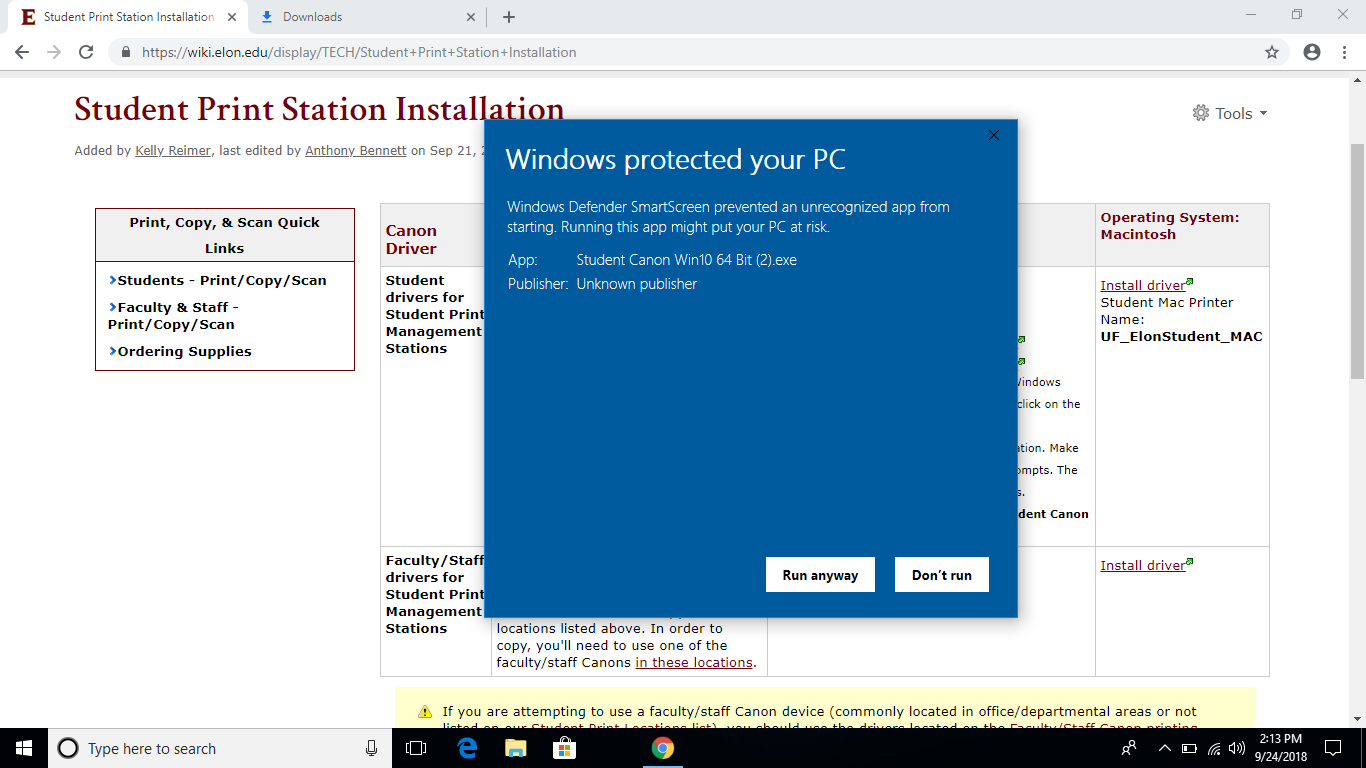 This image tells you Windows is protecting your computer but that you should run the file anyway