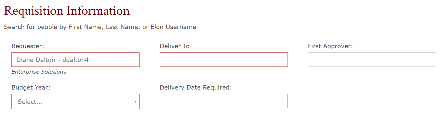Requisition Information Section of the purchase request form