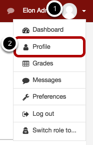 Image of selecting Profile, with 1 as your profile icon and 2, circled, as the profile link.
