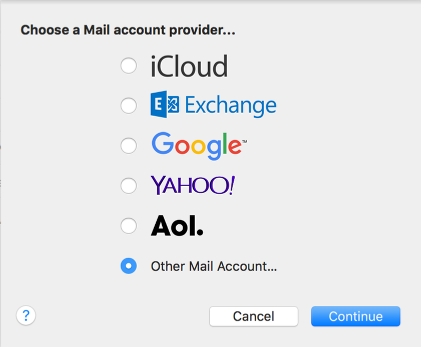 An image of the mail account provider, with other mail account selected.