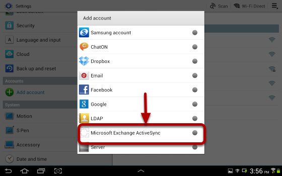 An image with Microsoft Exchange ActiveSync circled and an arrow pointing to it.
