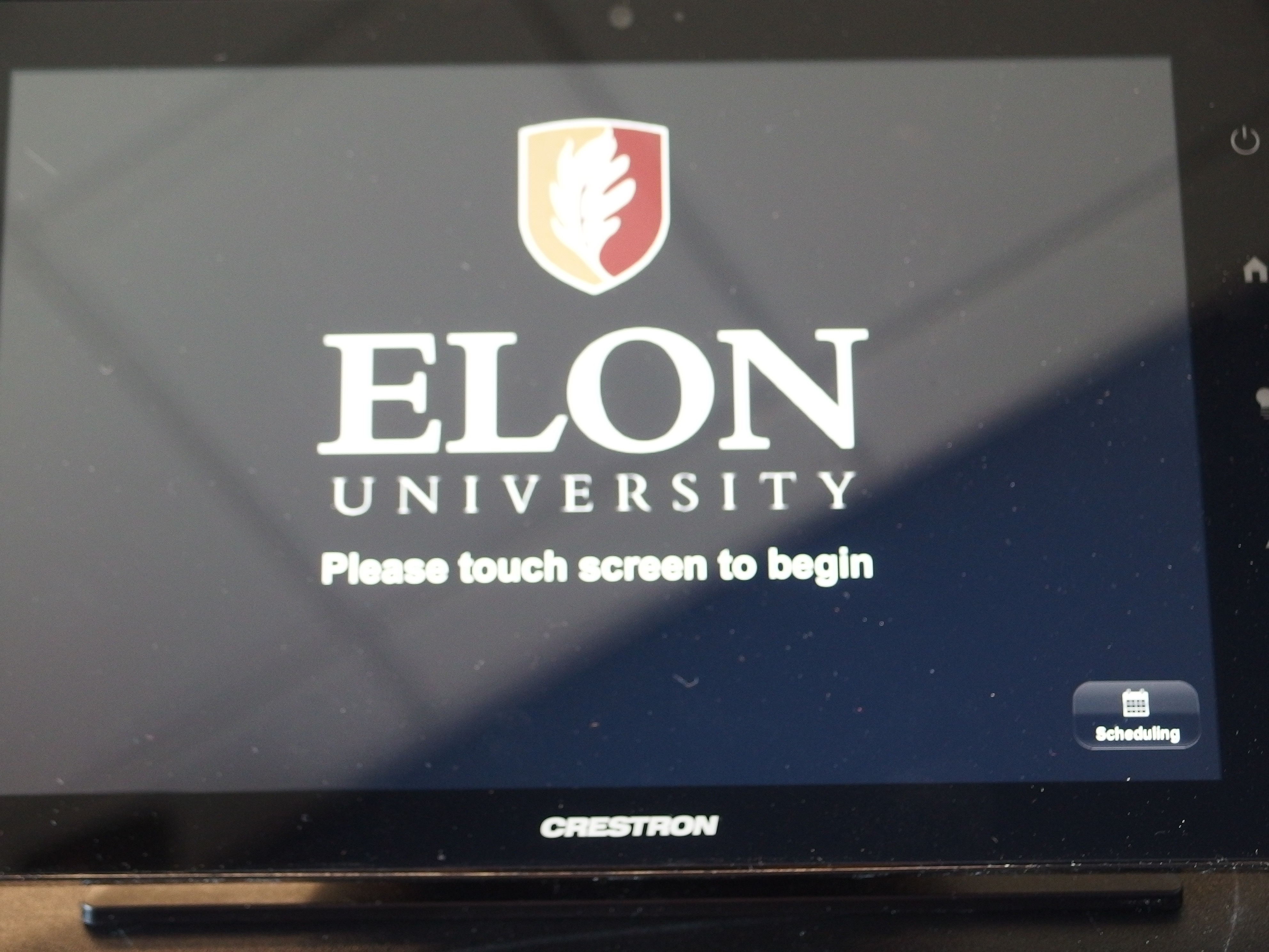 A photo of the touch panel main page.