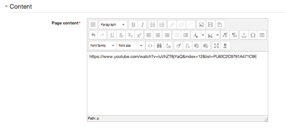 An image of the content section with an example YouTube URL.