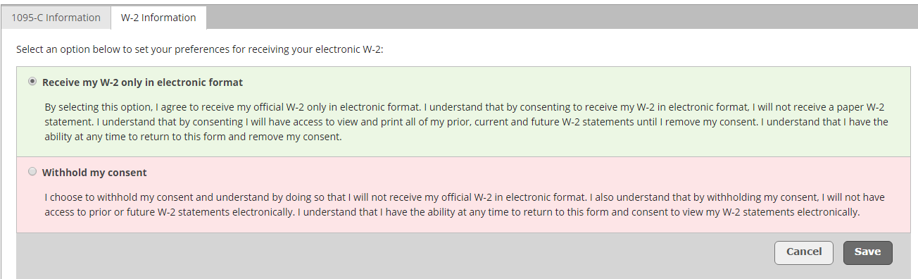 An image of where you can provide or withold consent for an electronic W2.