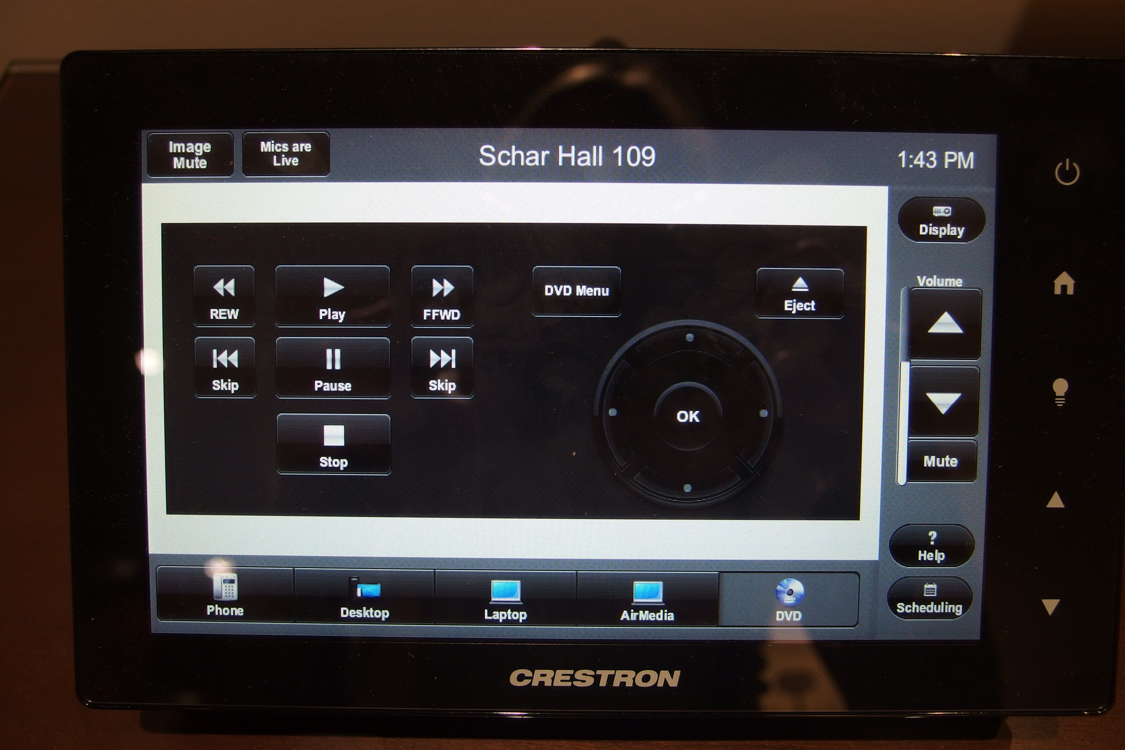A photo of the touch panel on the DVD page.