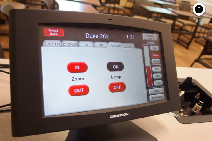 Photo of crestron control touch panel with document camera tab active