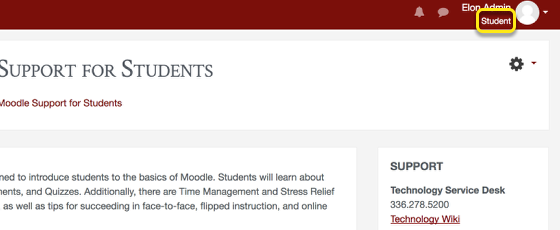 An example of what Moodle looks like as a student, with student circled.