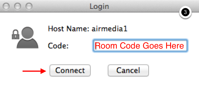 Photo of AirMedia dialogue box indicating location to enter room code and the connect button