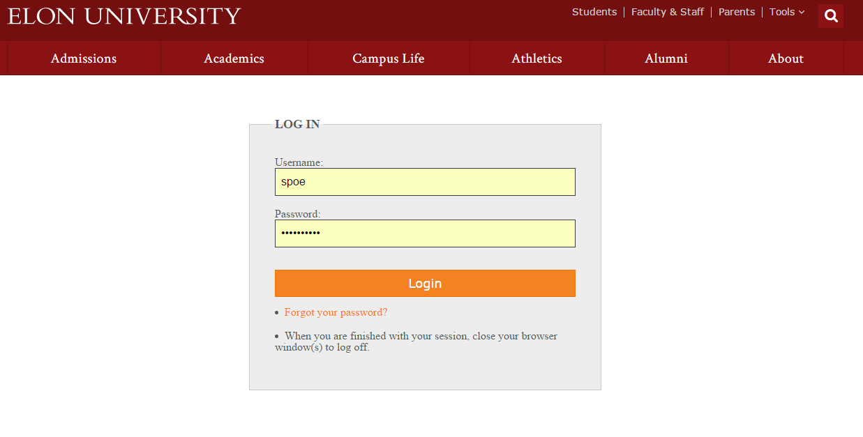 An image of the Elon login page.