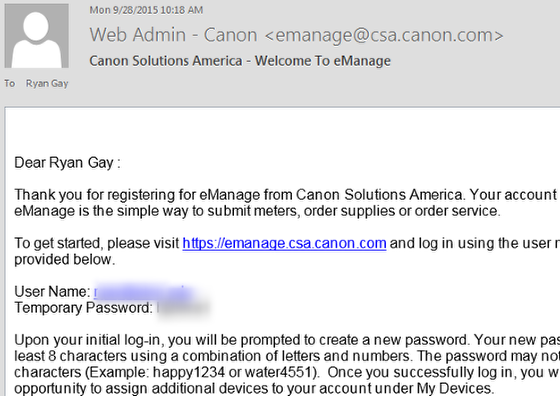 An example of the Canon email you could receive.